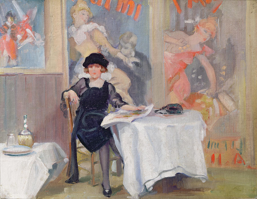 Lady Painting - Lady At A Cafe Table  by Harry J Pearson