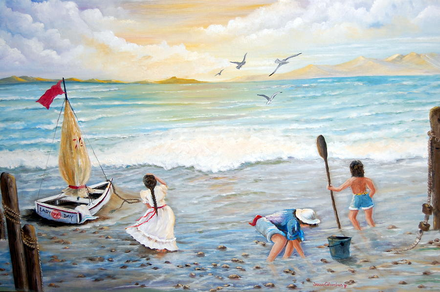 Ocean Painting - Lady Bay Children On The Beach by Janna Columbus