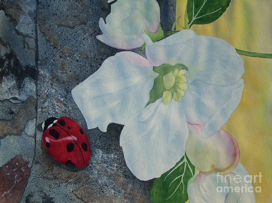 Bug Painting - Lady Blossom by Jennifer Taylor Rogerson