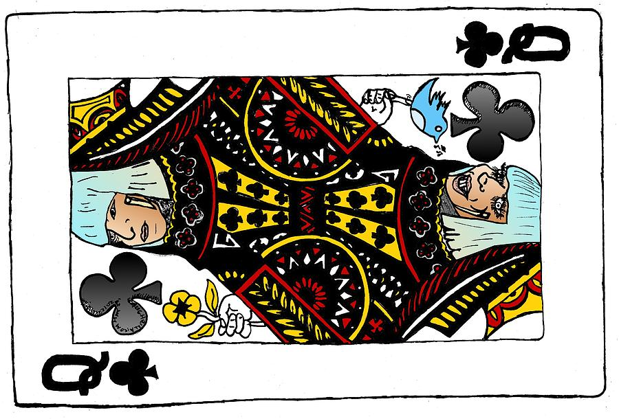 Lady Gaga Drawing - Lady Gaga Queen Of Clubs Poker Face Caricature by Yasha Harari