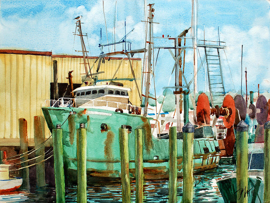 Peter Sit Watercolor Painting - Lady Grace Trawler by Peter Sit