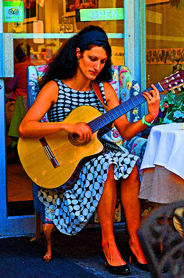 Music Photograph - Lady Guitar by Peter  McIntosh