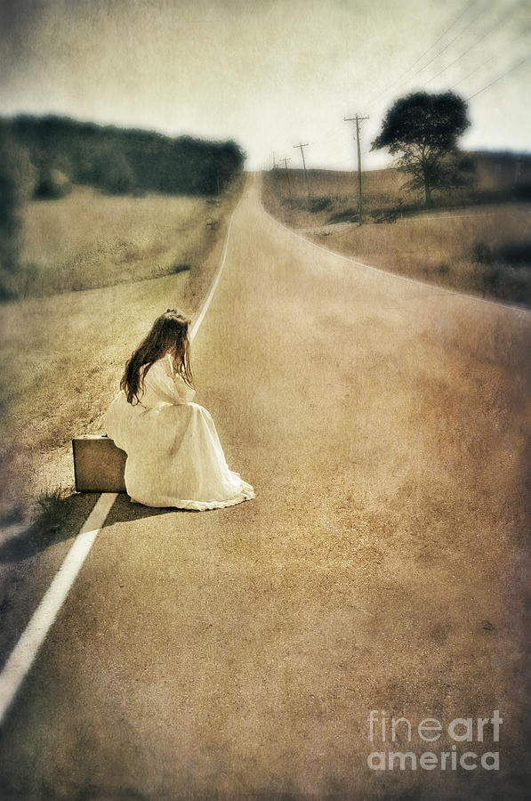 Woman Photograph - Lady In Gown Sitting By Road On Suitcase by Jill Battaglia