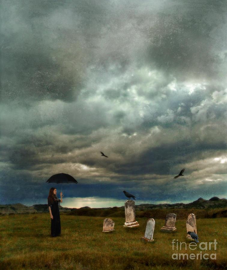 Woman Photograph - Lady In Graveyard by Jill Battaglia