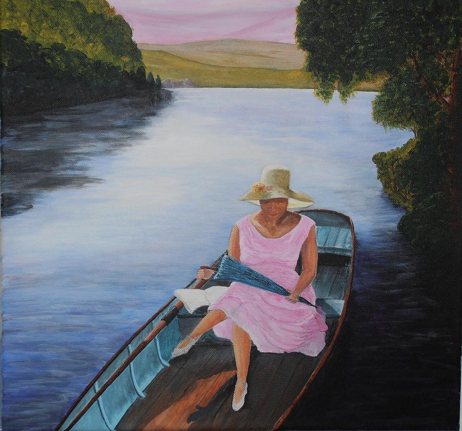 Boat Painting - Lady In Pink by Siobhan Lawson