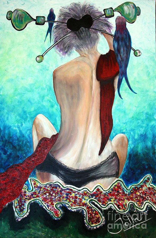 Passion Painting - Lady In Red by Jolanta Anna Karolska