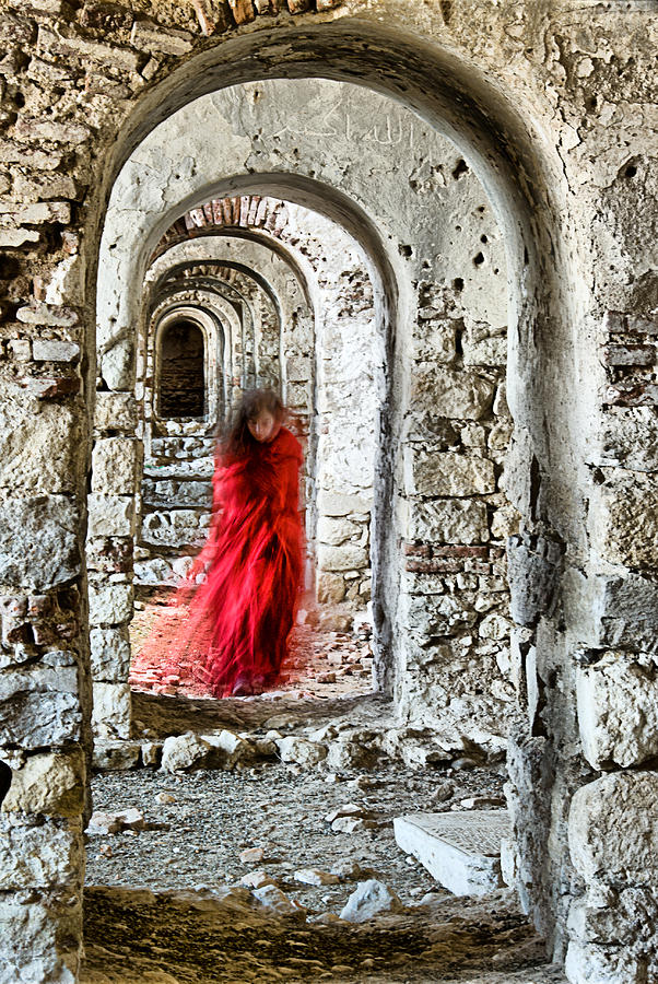 Ancient Photograph - Lady In Red by Okan YILMAZ