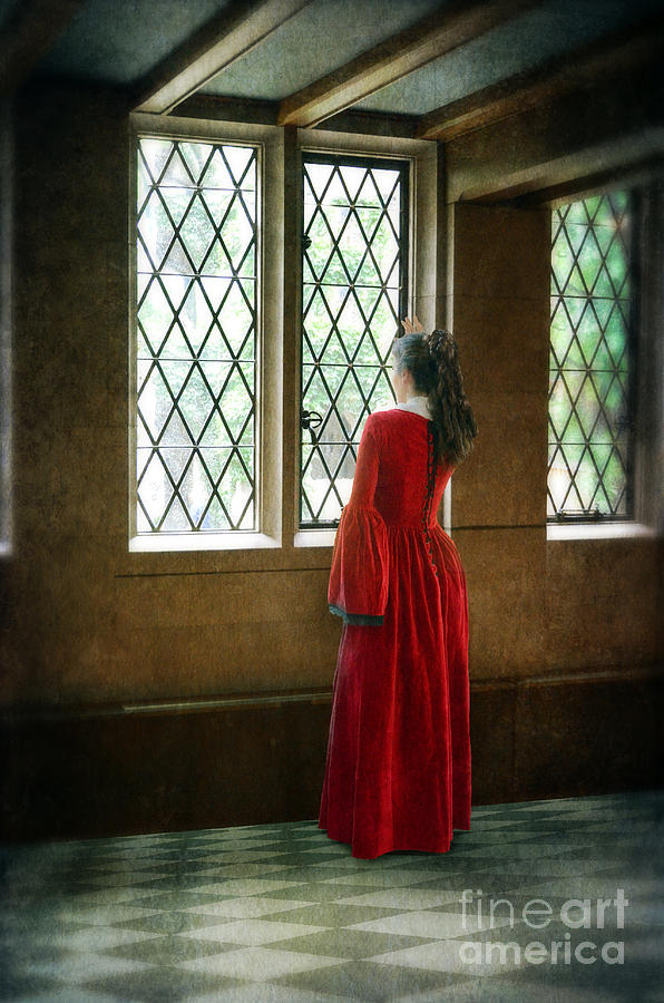 Woman Photograph - Lady In Tudor Gown Looking Out A Window by Jill Battaglia
