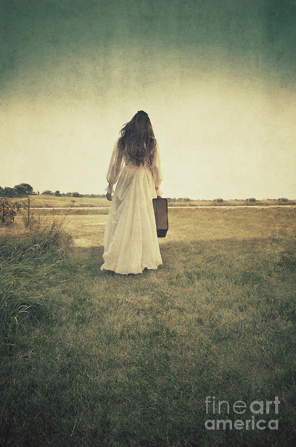 Lady In White Vintage Gown Walking Away Photograph by Jill ...