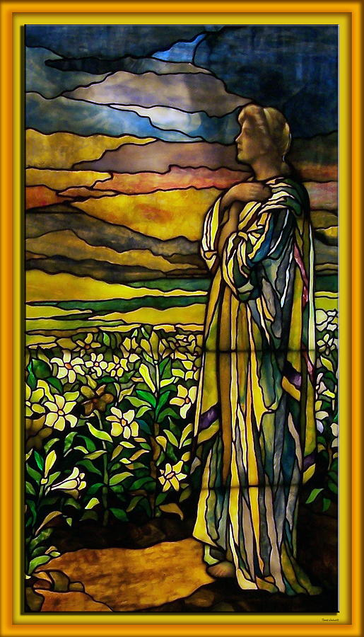 Stained Glass Photograph - Lady Stained Glass Window by Thomas Woolworth