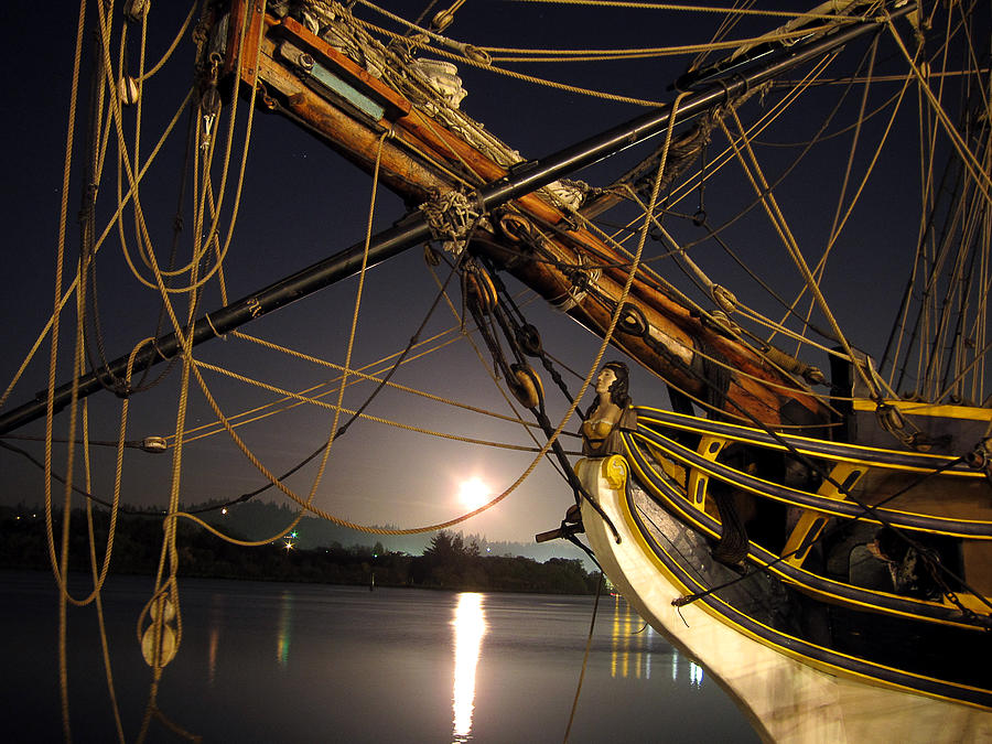 Lady Washington Photograph - Lady Washington - Moonlight On Coos Bay by Gary Rifkin