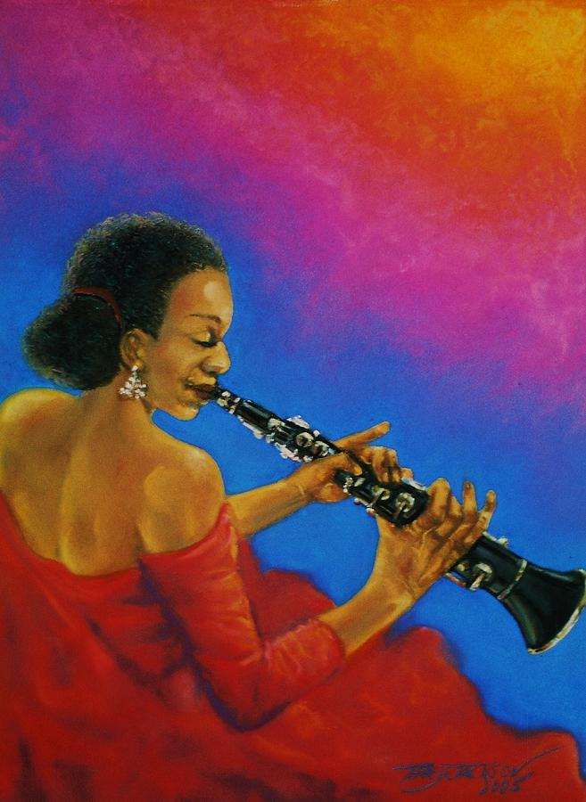 Musician Pastel - Lady With A Clarinet by Terry Jackson