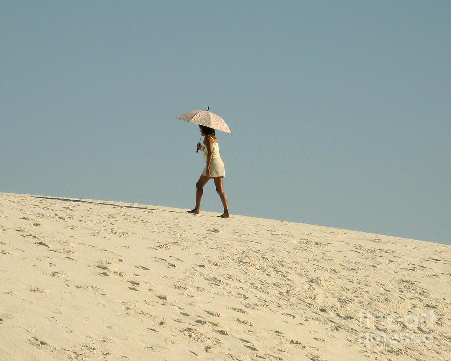 Sand Photograph - Lady With Umbrella On Sand Dune by Patricia Januszkiewicz