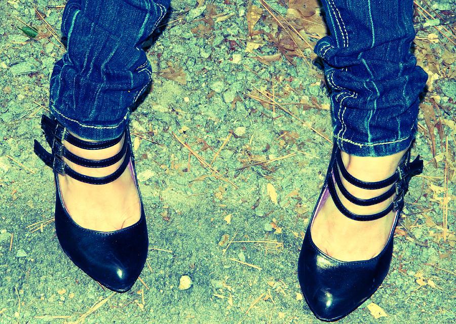 Vintage Photograph - Ladys Feet-vintage by Ester  Rogers