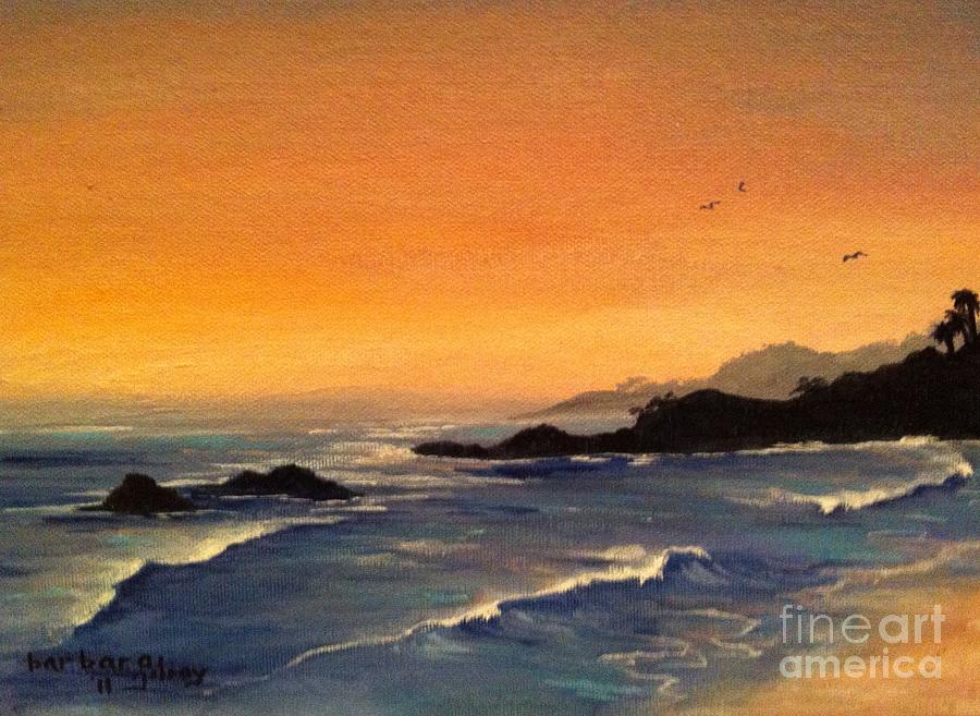 Sunset Painting - Laguna Sunset by Barbara Gilroy