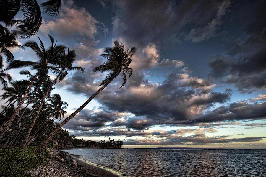 Maui Hawaii Lahaina Palmtrees Clouds Sunset Ebb Flow Beach Photograph - Lahaina Evening by James Roemmling