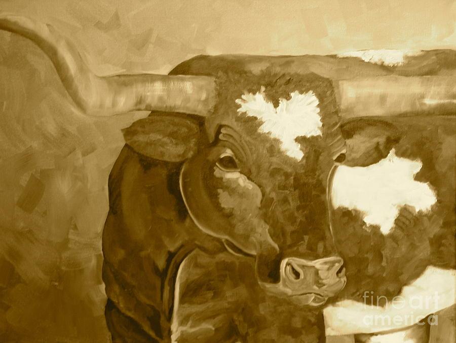 Laid Back Big Boy Sepia Tone Painting By Amy Higgins