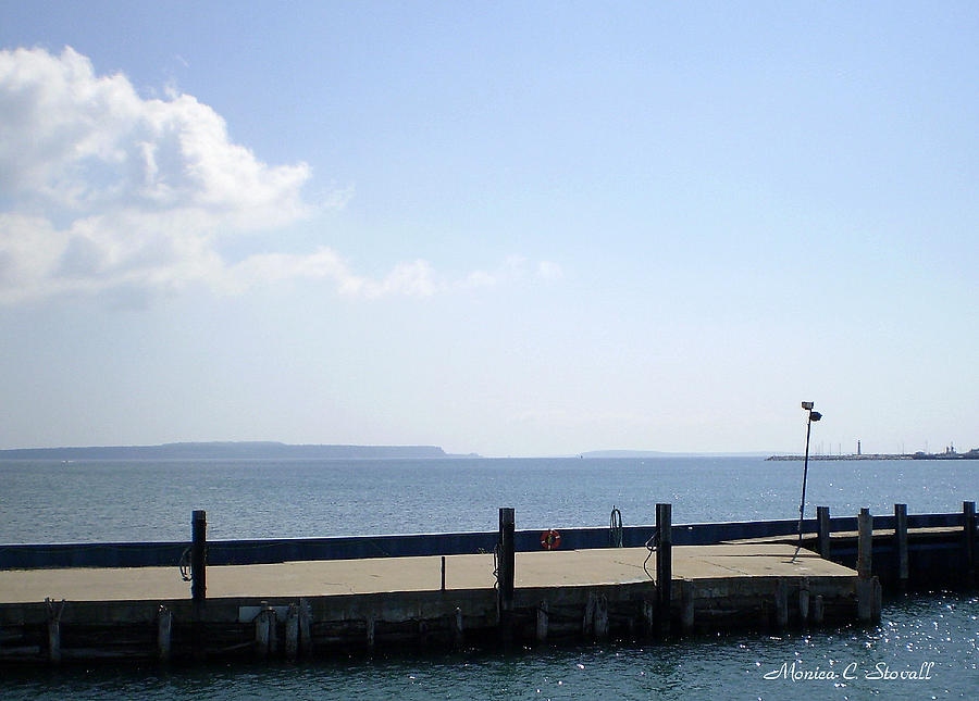 Lake Huron Harbor And Mackinaw Island View - Michigan Photograph by Monica C Stovall