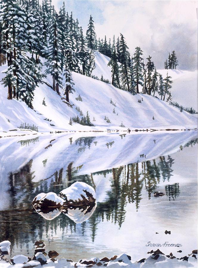 Watercolor Painting - Lake Moraine Oregon by Sharon Freeman
