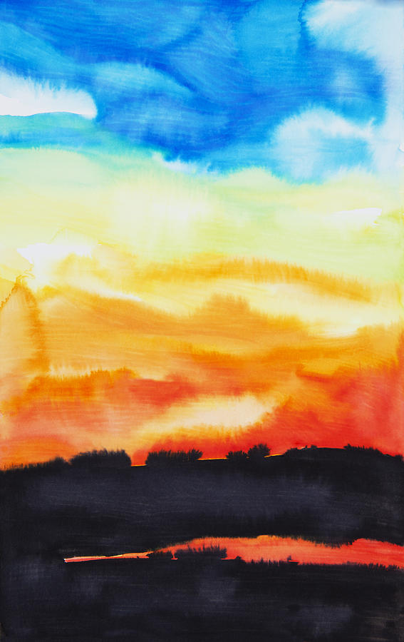 Abstract Painting - Lake Of Fire by Tara Thelen