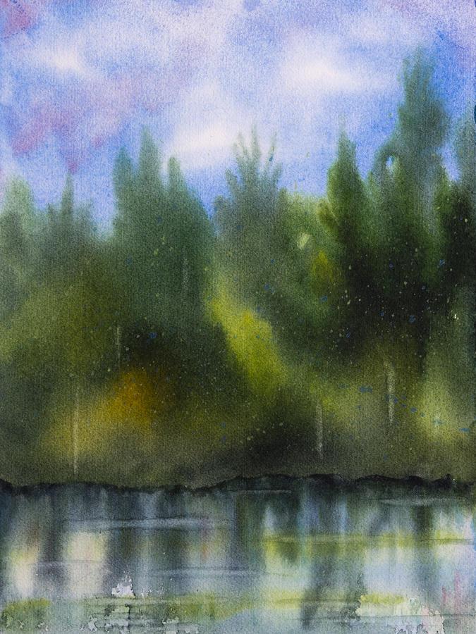 Lake Painting - Lake Reflecting Trees by Debbie Homewood
