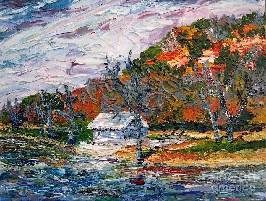 Acrylic Painting - Lake Side  by Linda  Steine