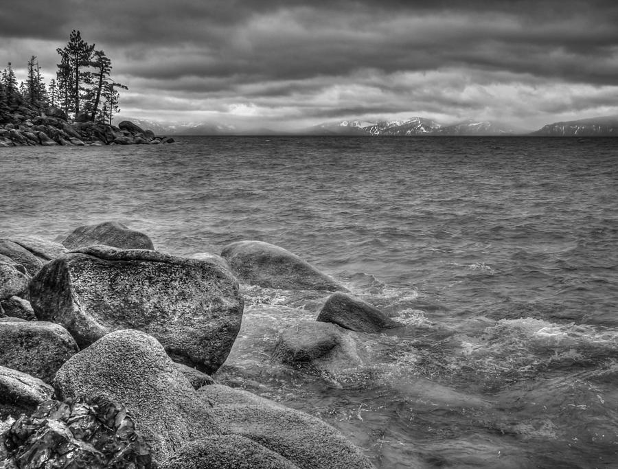 Black And White Photograph - Lake Tahoe Winter Storm by Scott McGuire