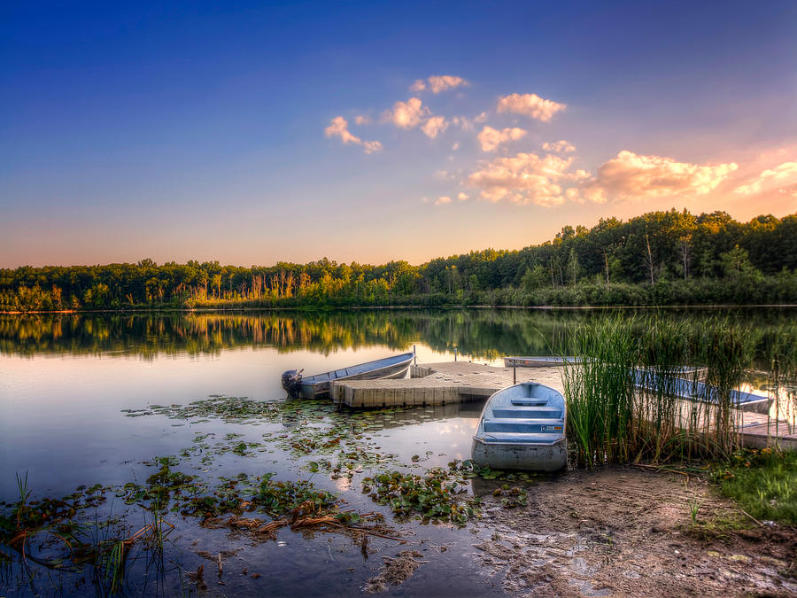 Dock Photograph - Lake View Row Boat by Jenny Ellen Photography