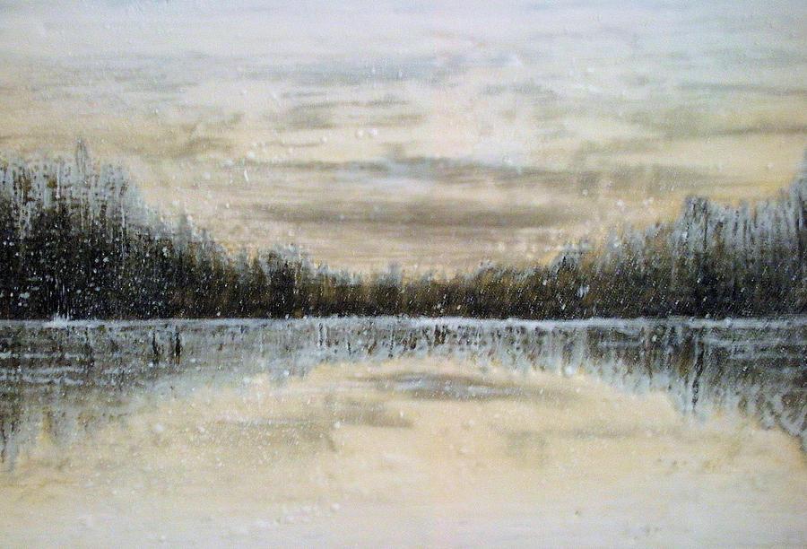 Encaustic Painting - Lake Wylie Snow by Jackie Dunford