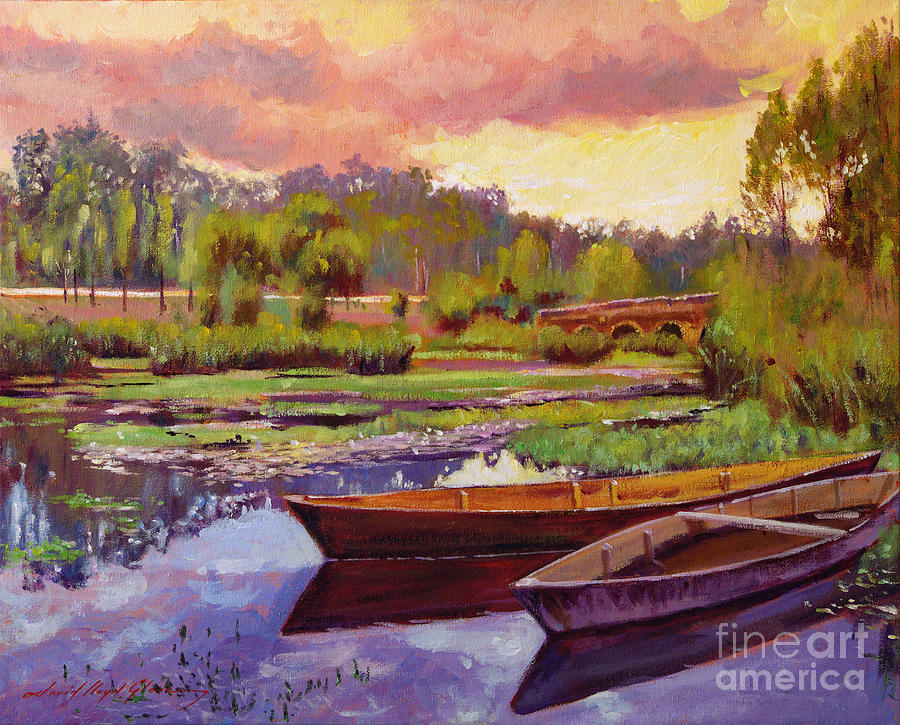 Landscape Painting - Lakeboats France by David Lloyd Glover