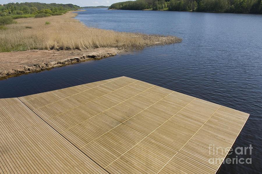 Blue Sky Photograph - Lakeside Dock by Jaak Nilson