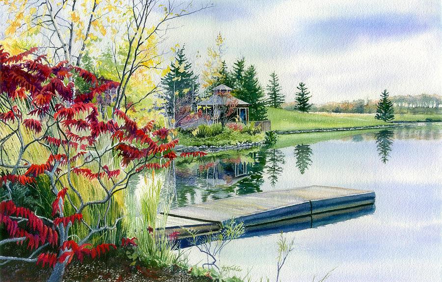 Autumn Reflections Painting - Lakeside Gazebo by Hanne Lore Koehler