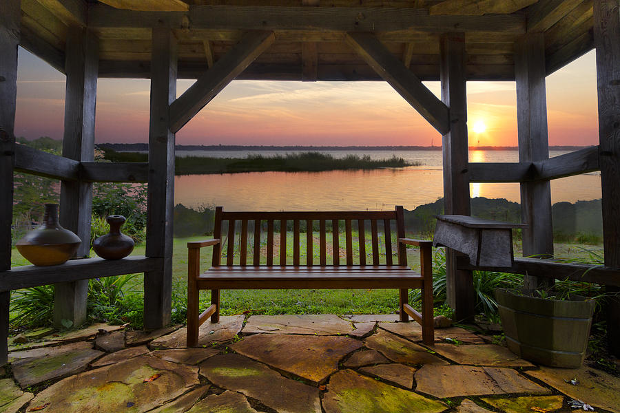 Clouds Photograph - Lakeside Serenity by Debra and Dave Vanderlaan