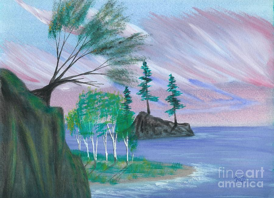Lake Painting - Lakeside Symphony by Robert Meszaros