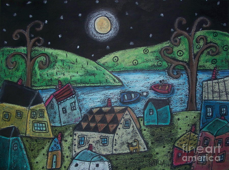 Oil Pastel Landscape Pastel - Lakeside Town by Karla Gerard