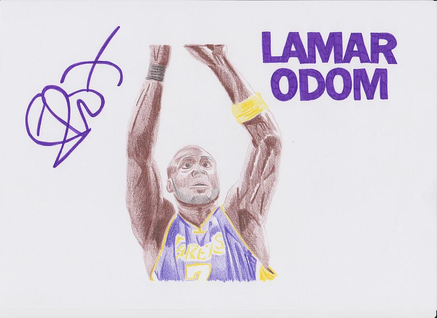 Lamar Drawing - Lamar Odom by Toni Jaso