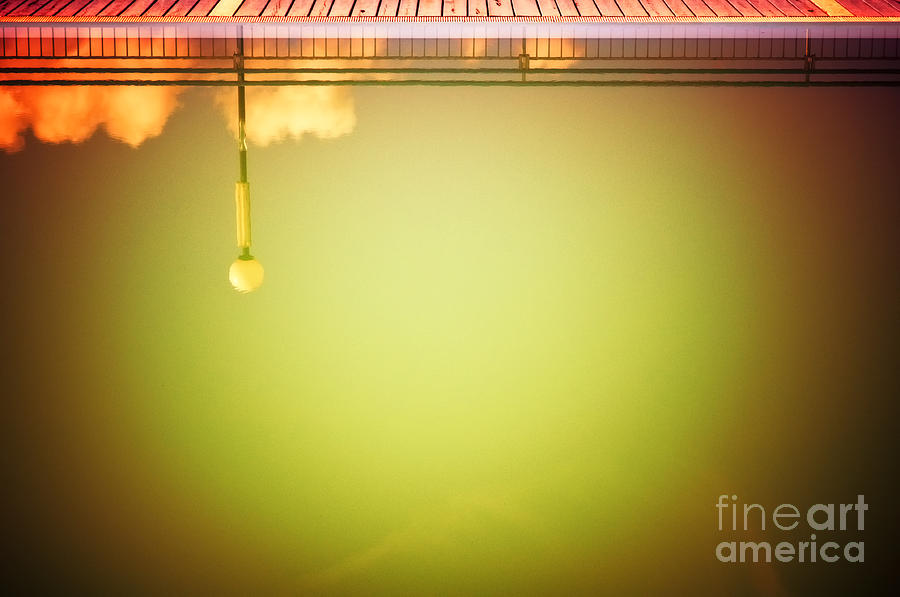 Abstract Photograph - Lamp And Clouds In A Swimming Pool by Silvia Ganora