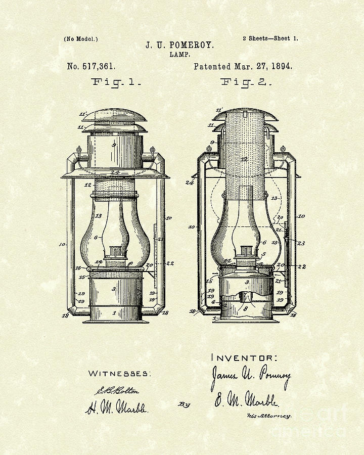 Lamp Drawing - Lamp Pomeroy 1894 Patent Art by Prior Art Design