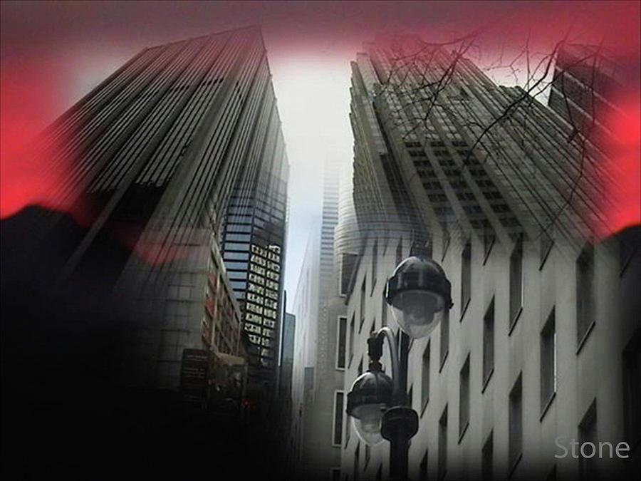 Abstract Digital Art - Lamp Post by Miraychel Stone