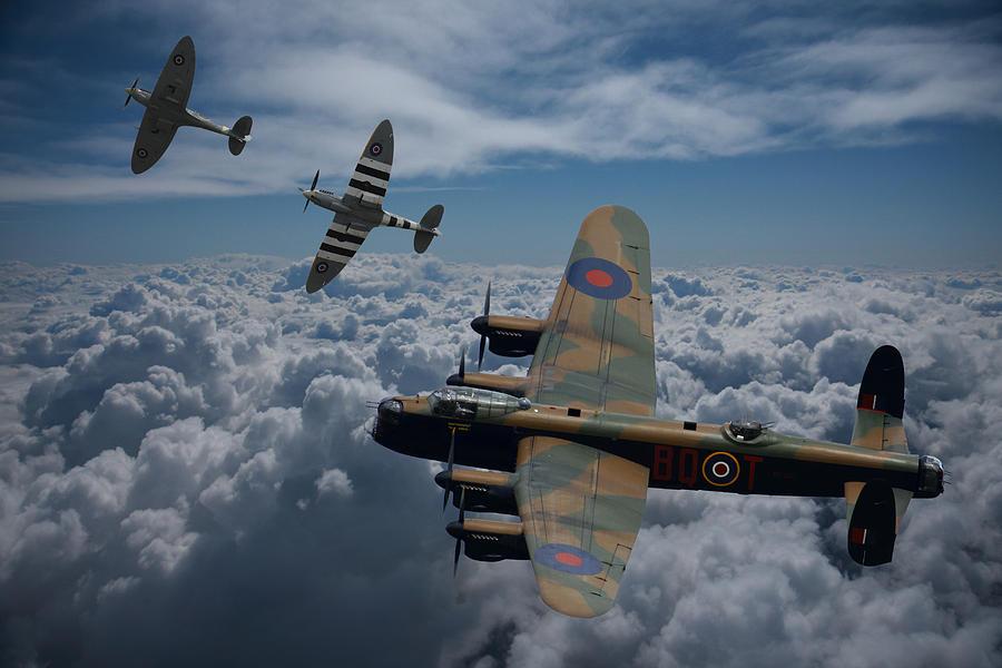 Lancaster Photograph - Lancaster Bomber and Spitfires by Ken Brannen