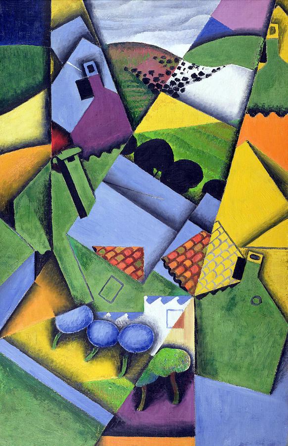 Cubist Painting - Landscape And Houses At Ceret by Juan Gris