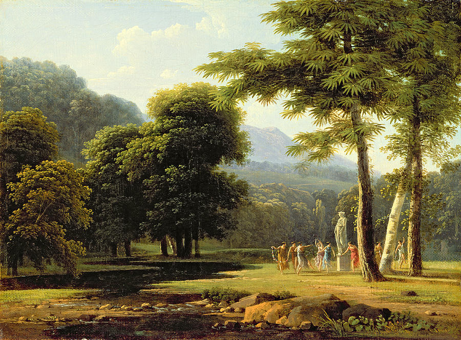 Wooded Painting - Landscape by Jean Victor Bertin
