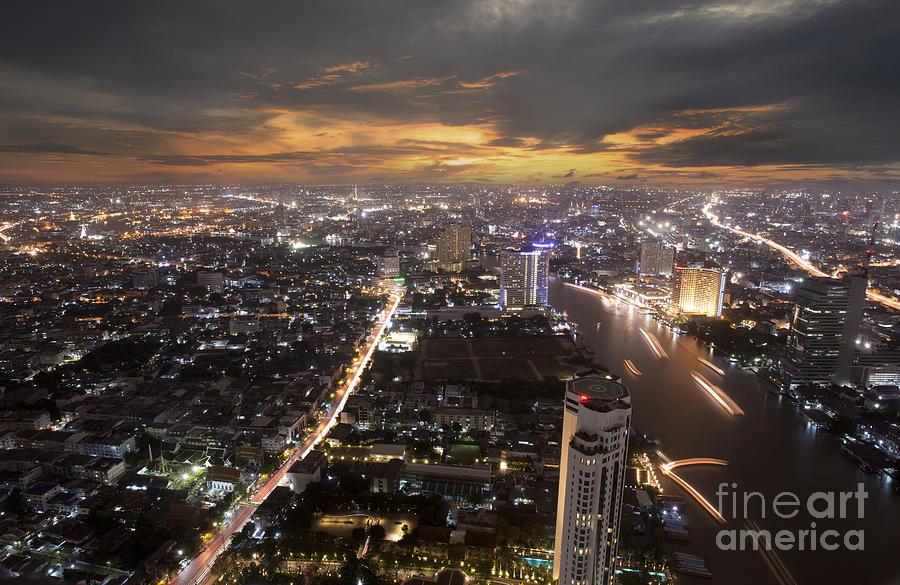 Ancient Photograph - Landscape Of Bangkok by Anek Suwannaphoom