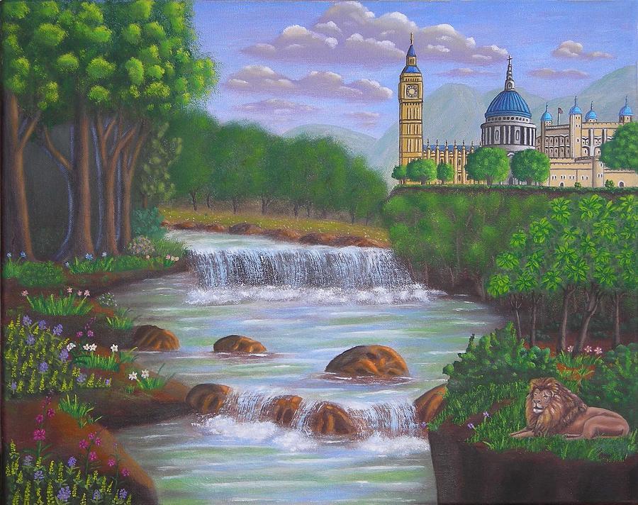 Landscape Paintings London Panorama Painting By Luigi Carlo