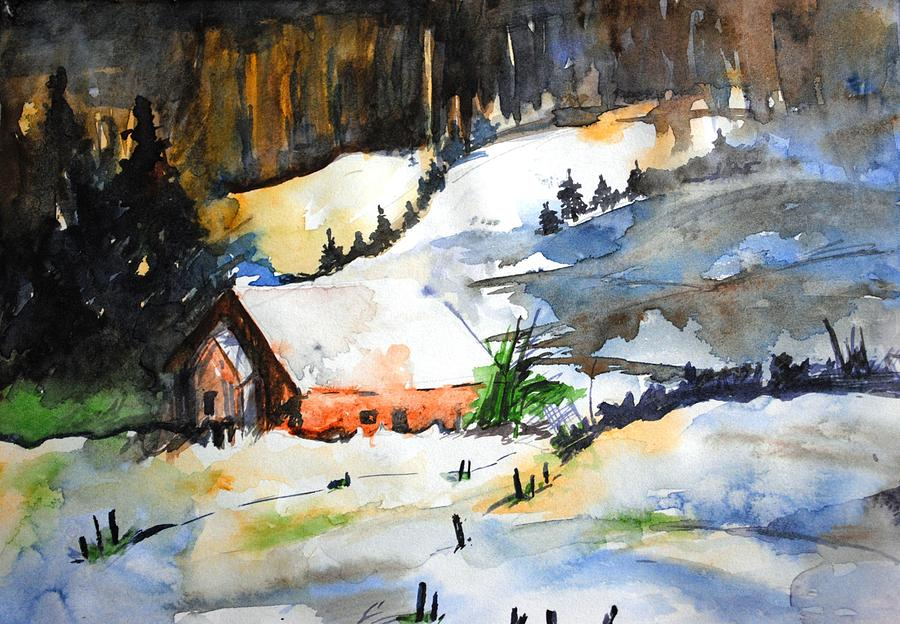 Water Colors Painting - Landscape Three by Mayank Gupta