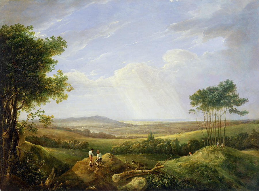 Landscape Painting - Landscape With Figures  by Captain Thomas Hastings