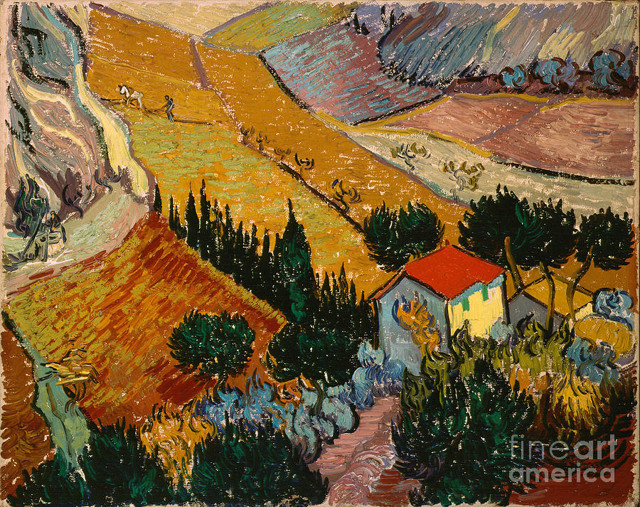 Landscape Painting - Landscape With House And Ploughman by Gogh Vincent van