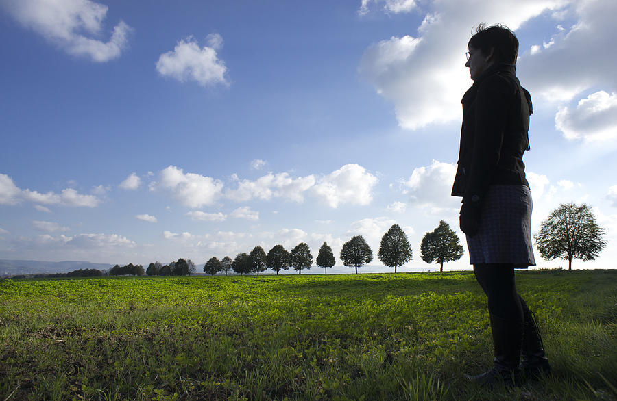 Person Photograph - Landscape With Row Of Trees And Person by Matthias Hauser
