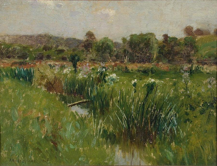 Meadow Painting - Landscape With Wild Irises by Bruce Crane