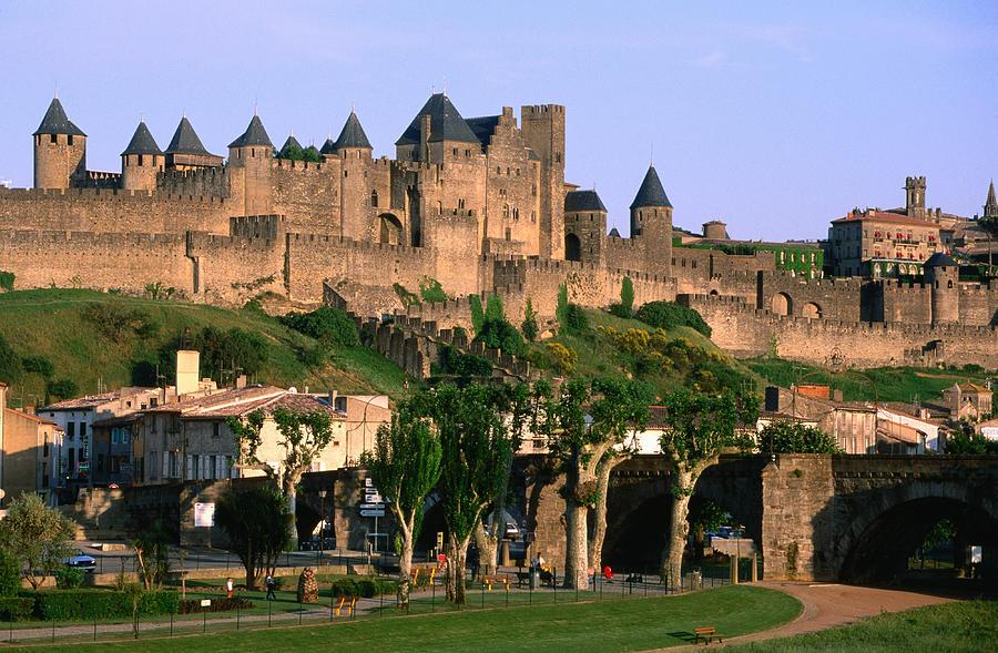 Horizontal Photograph - Languedoc Roussillon Carcassonne La Cite, 12th Century Castle, Carcassonne, Languedoc-roussillon, France, Europe by John Elk III
